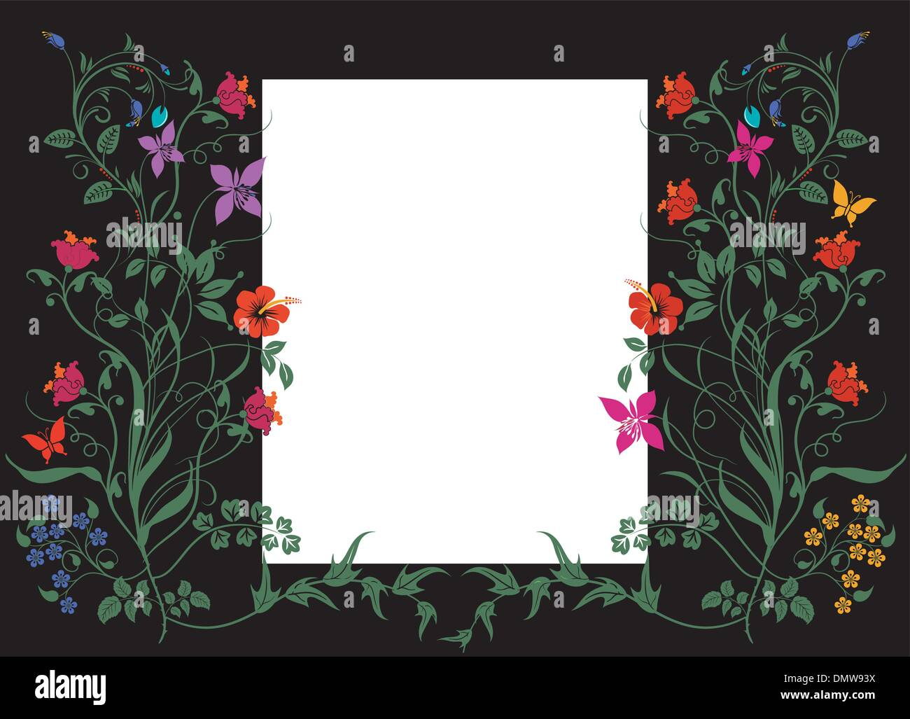 Floral pattern with white label on black - Stock Image