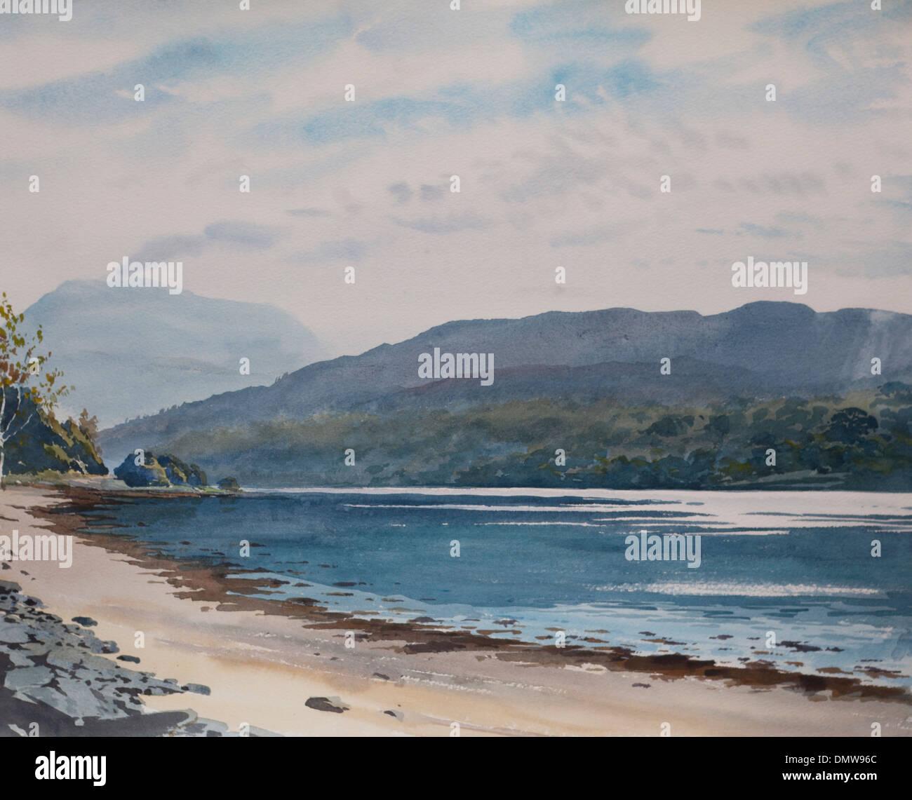Scottish Highlands Landscape Watercolour Painting - Stock Image