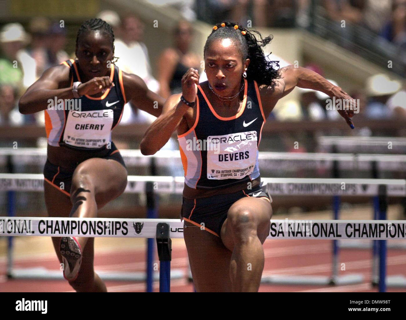 Jun 23, 2002; Palo Alto, CA, USA; 100 meter hurdler Gail Devers easily wins her semi-final heat in the USA Track and Field Championships held at Stanford University in Palo Alto, Calif. on Sunday, June 23, 2002. - Stock Image