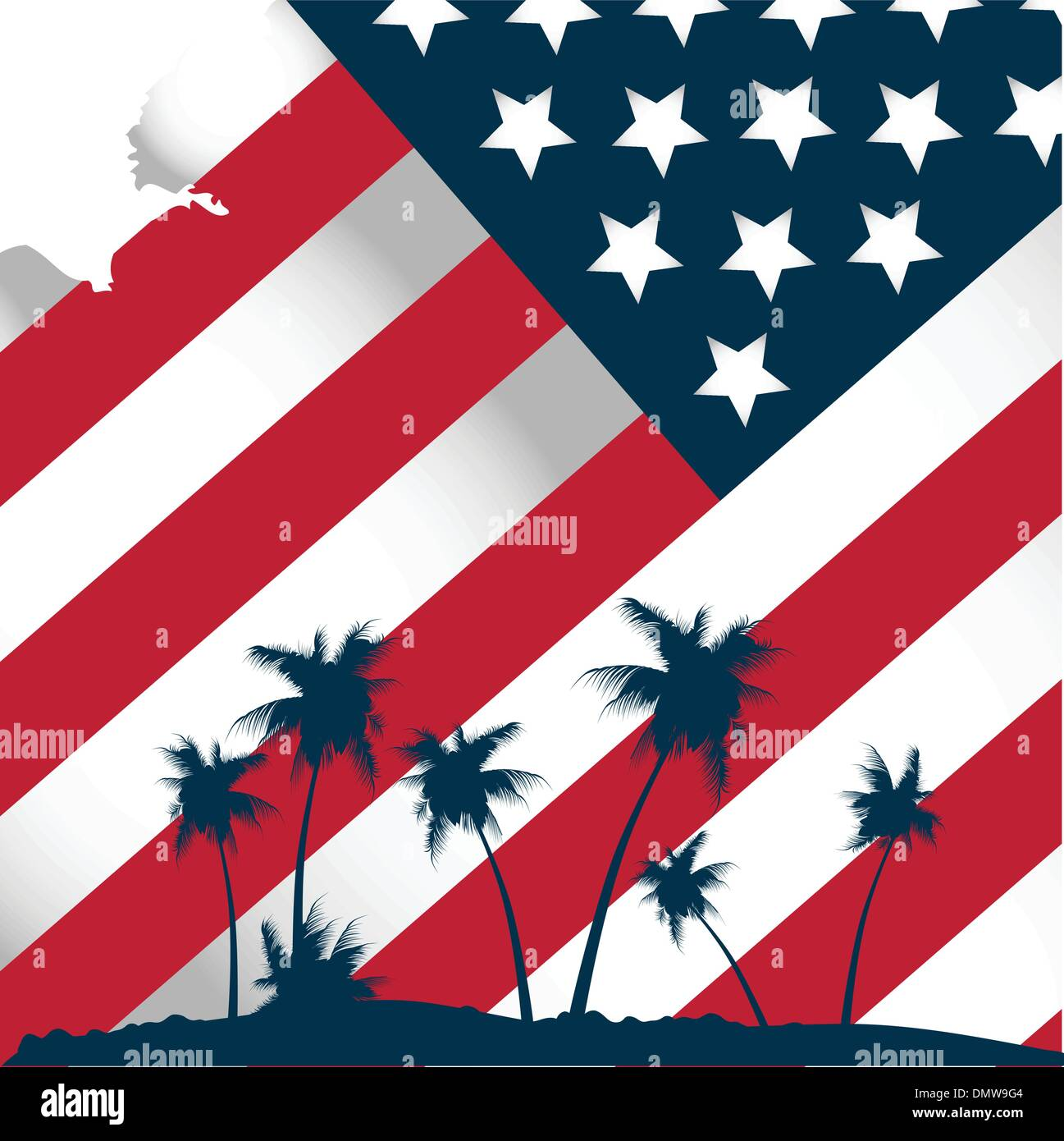 american flag stylised tropical - Stock Vector