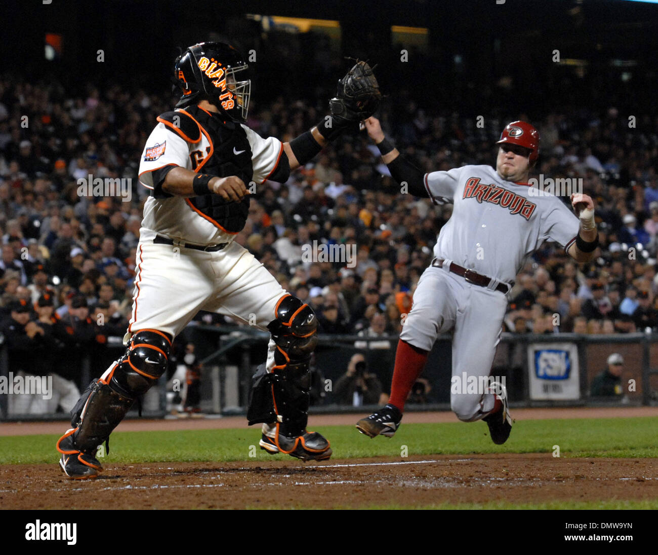 Arizona Diamondbacks Chris Snyder is forced out at home plate by Giants catcher Bengie Molina in the 3rd inning off a hit by Brandon Webb with the bases loaded in their  game Wednesday night, Sept 12, 2007, at AT&T Park in San Francisco Calif. (Dan Rosenstrauch/Contra Costa Times/ZUMA Press) - Stock Image