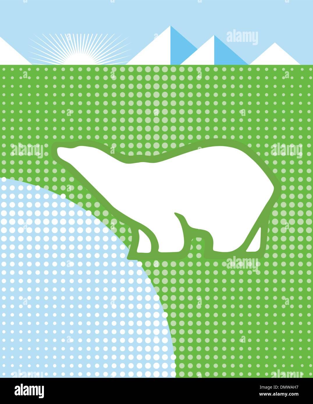 Polar Bear and Climate - Stock Vector