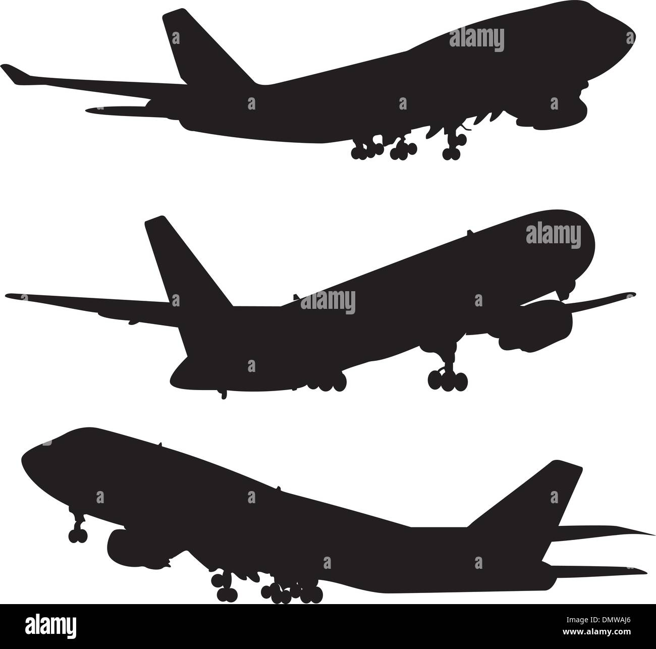 airplane silhouette set - Stock Image