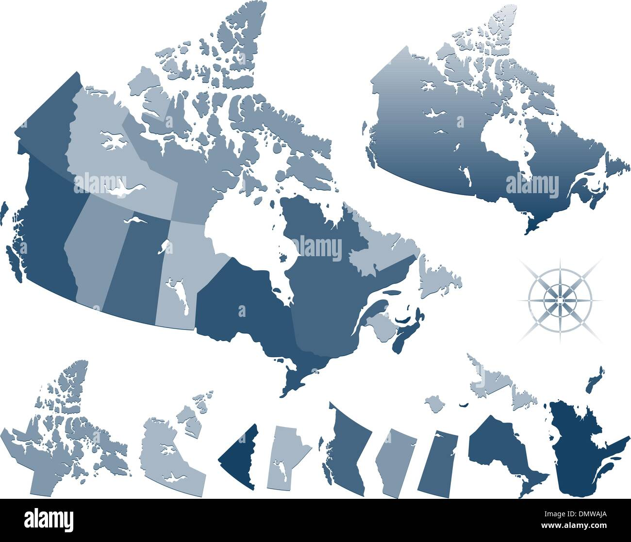 Map of Canada and provinces - Stock Image