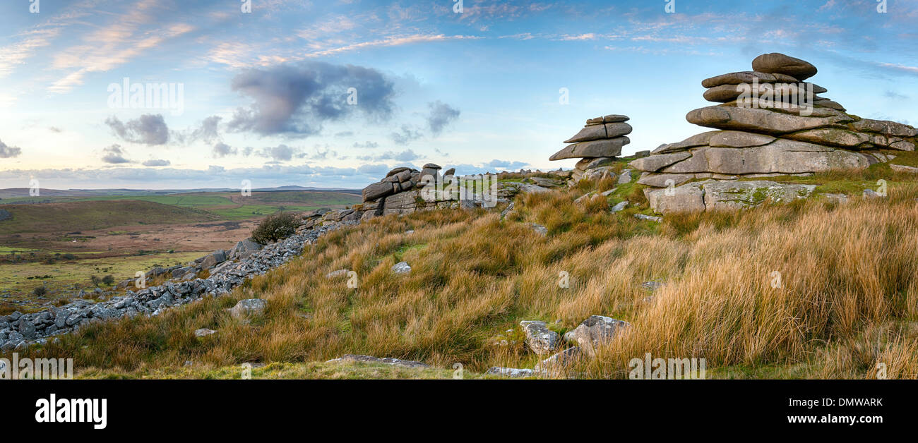 Granite slabs making up a tor at Stowes Hill on Bodmin Moor in Cornwall near the Minions - Stock Image