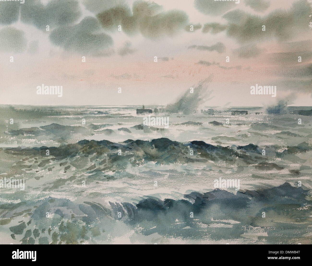 Dramatic Seascape Breaking Waves Watercolour Painting - Stock Image