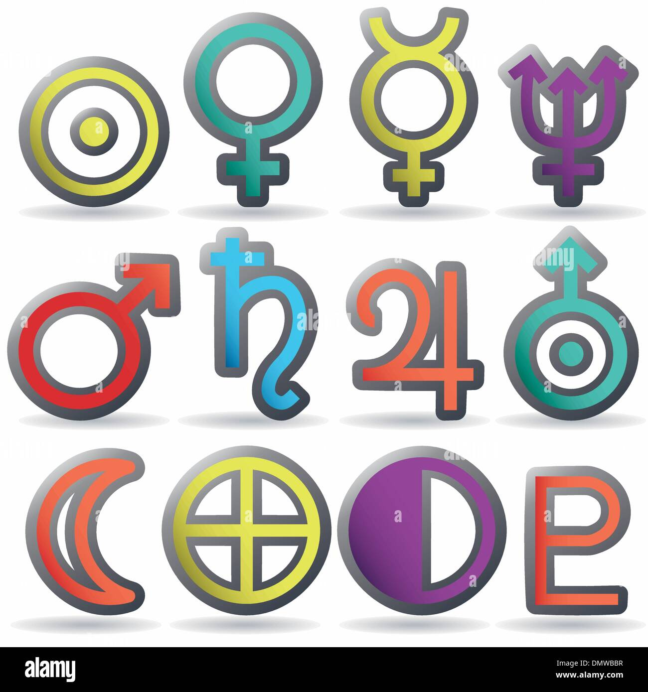 Zodiac And Astrology Symbols Of The Planets Stock Vector Image Art Alamy