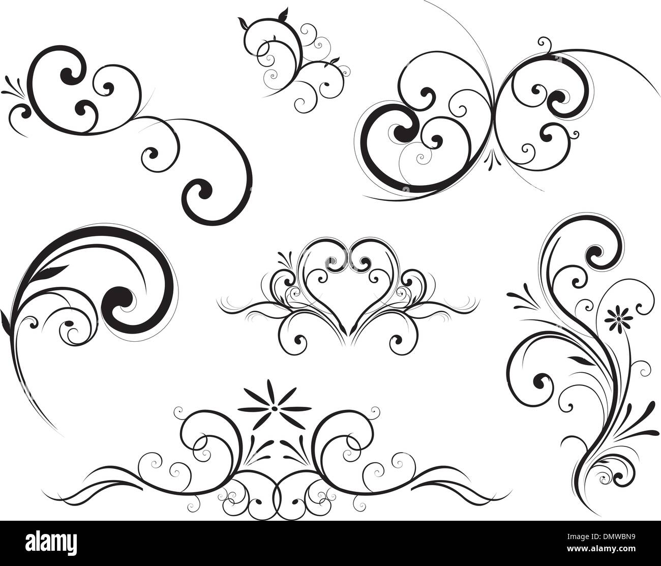 Swirling Flourishes Decorative Floral Elements Stock Vector Art