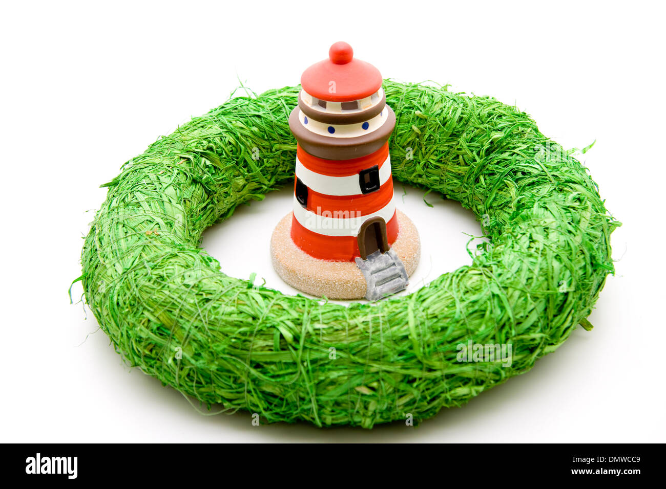 Lighthouse with wreath - Stock Image