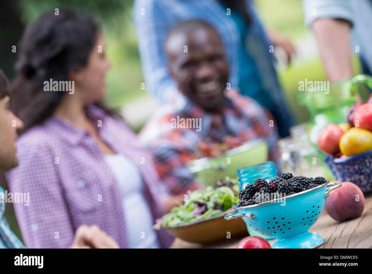 A summer party outdoors. A group of friends at a table. - Stock Image