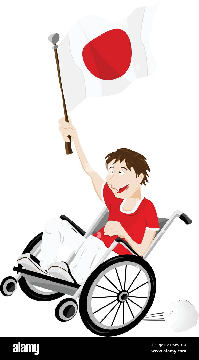 Japan Sport Fan Supporter on Wheelchair with Flag Stock Vector