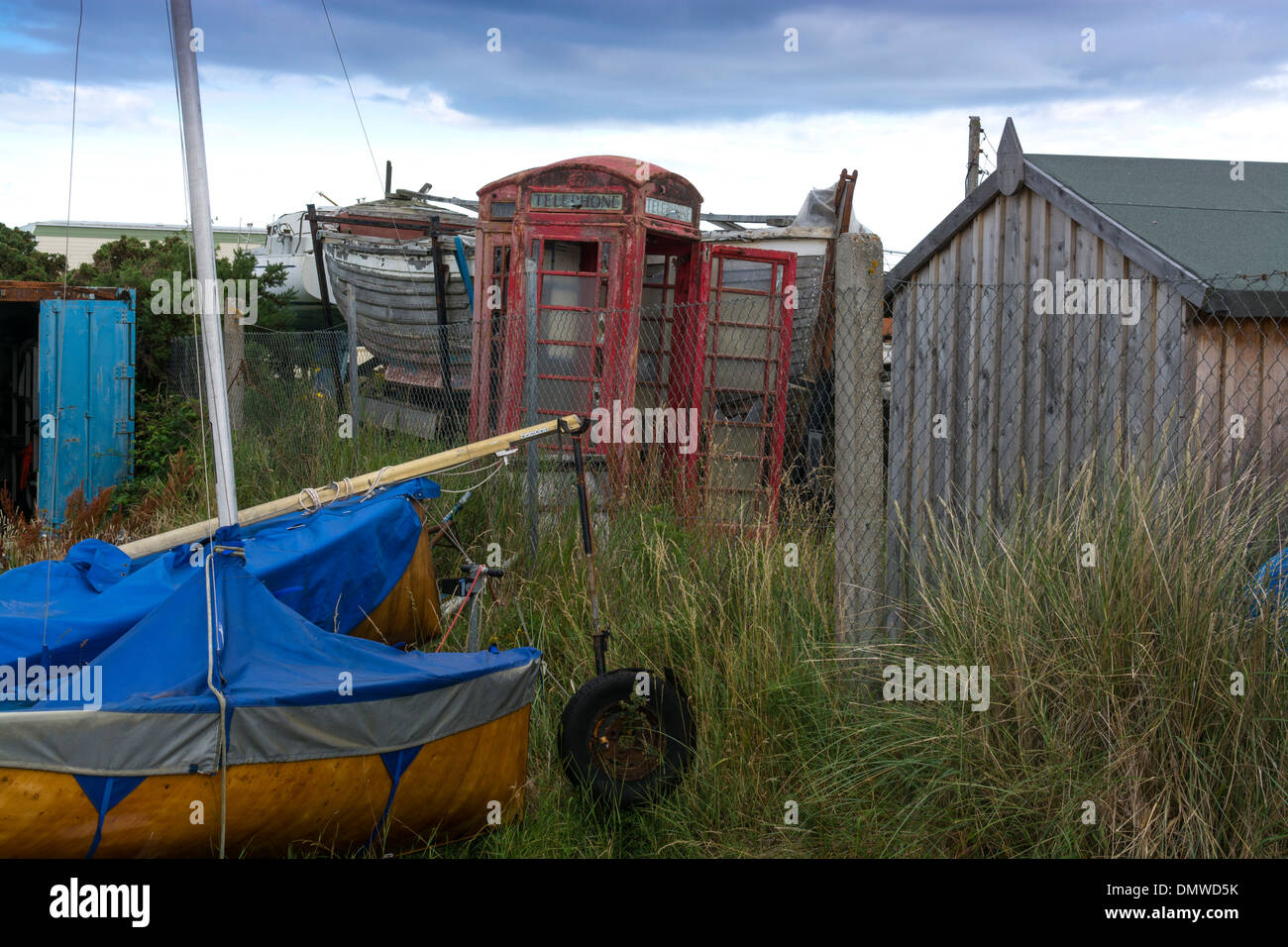 findhorn boat yard telephone box dilapidated - Stock Image