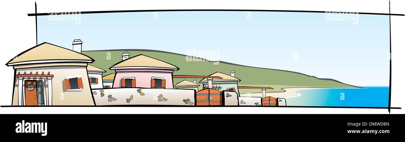 Summer Settlement on the Seaside - Stock Vector