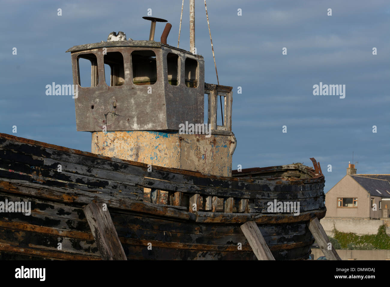 burghhead derelict fishing boat moray coast - Stock Image