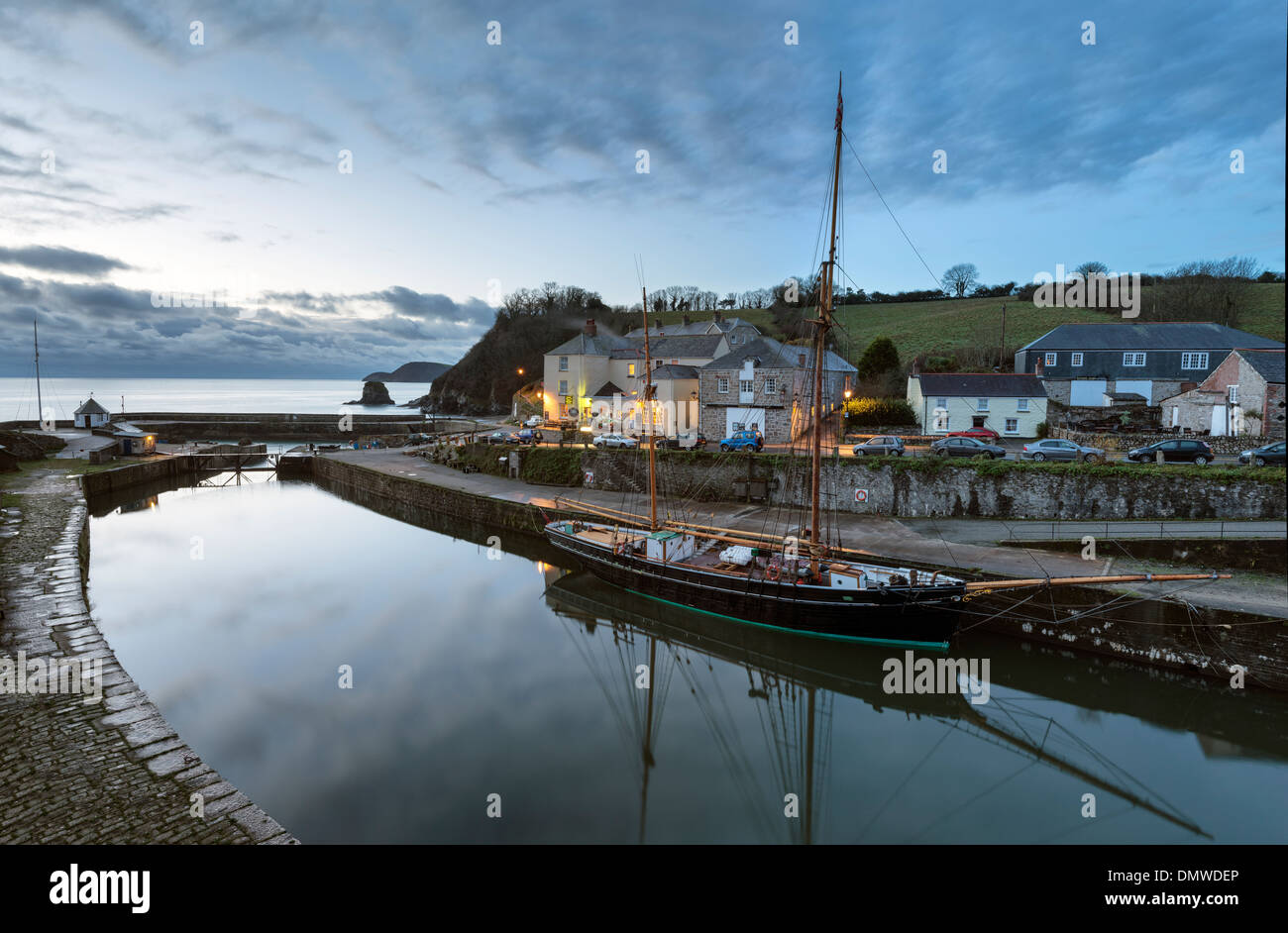 Just before dawn at Charlestown harbour in Cornwall - Stock Image