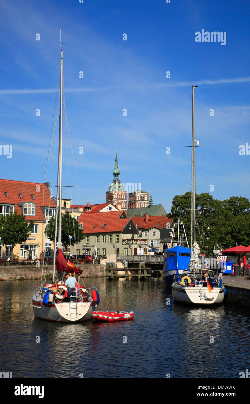 sailing boats at Stralsund harbour, Baltic Sea,  Mecklenburg-Western Pomerania, Germany, Europe - Stock Image