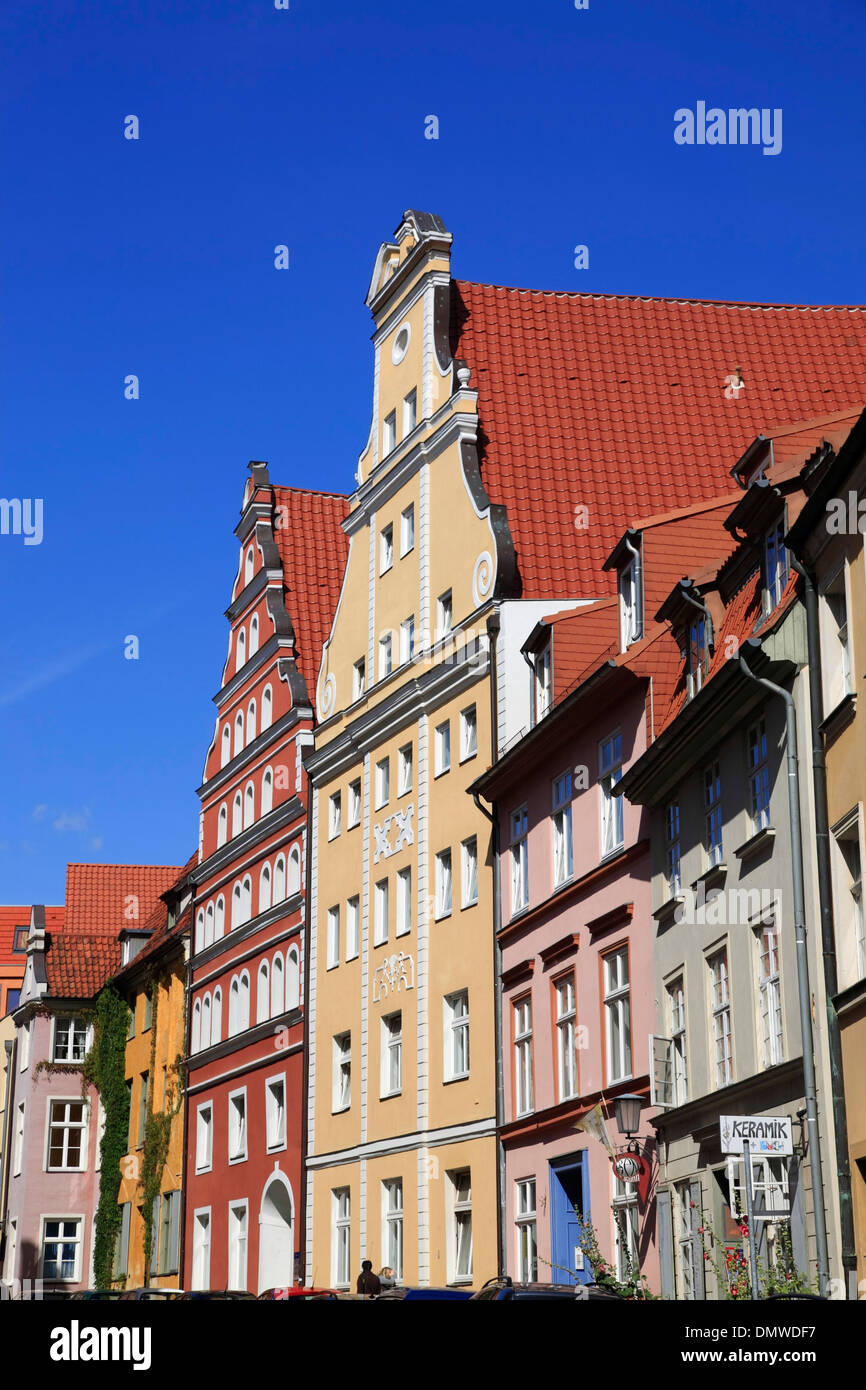 Houses at Faehrstrasse, Hanseatic town Stralsund, Baltic Sea, Mecklenburg-Western Pomerania, Germany, Europe - Stock Image