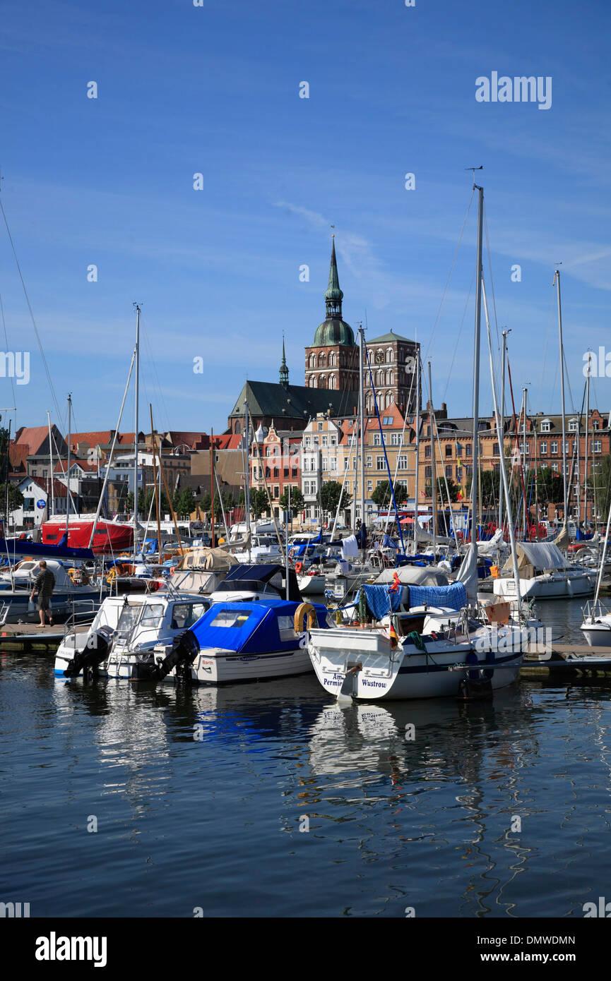 Marina in Stralsund, Baltic Sea,  Mecklenburg-Western Pomerania, Germany, Europe - Stock Image