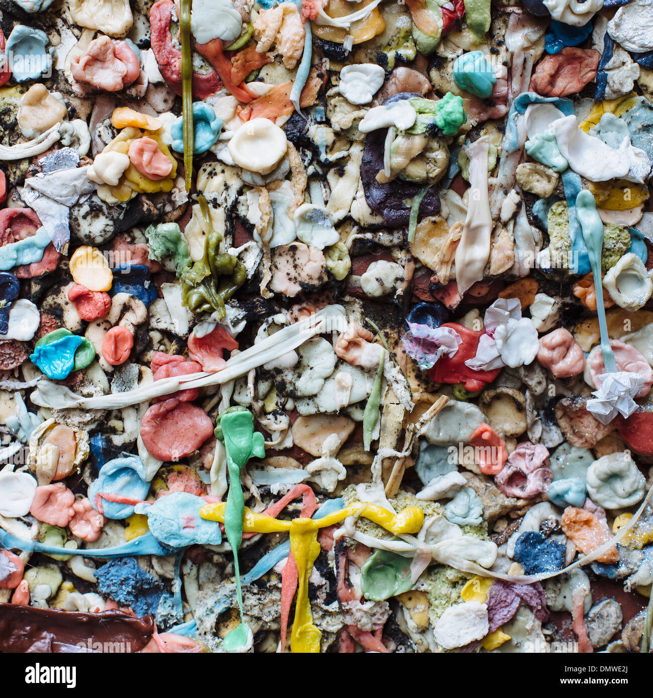 Close up of chewed bubble gum stuck on  Gum Wall in Pike Place market in Seattle. - Stock Image