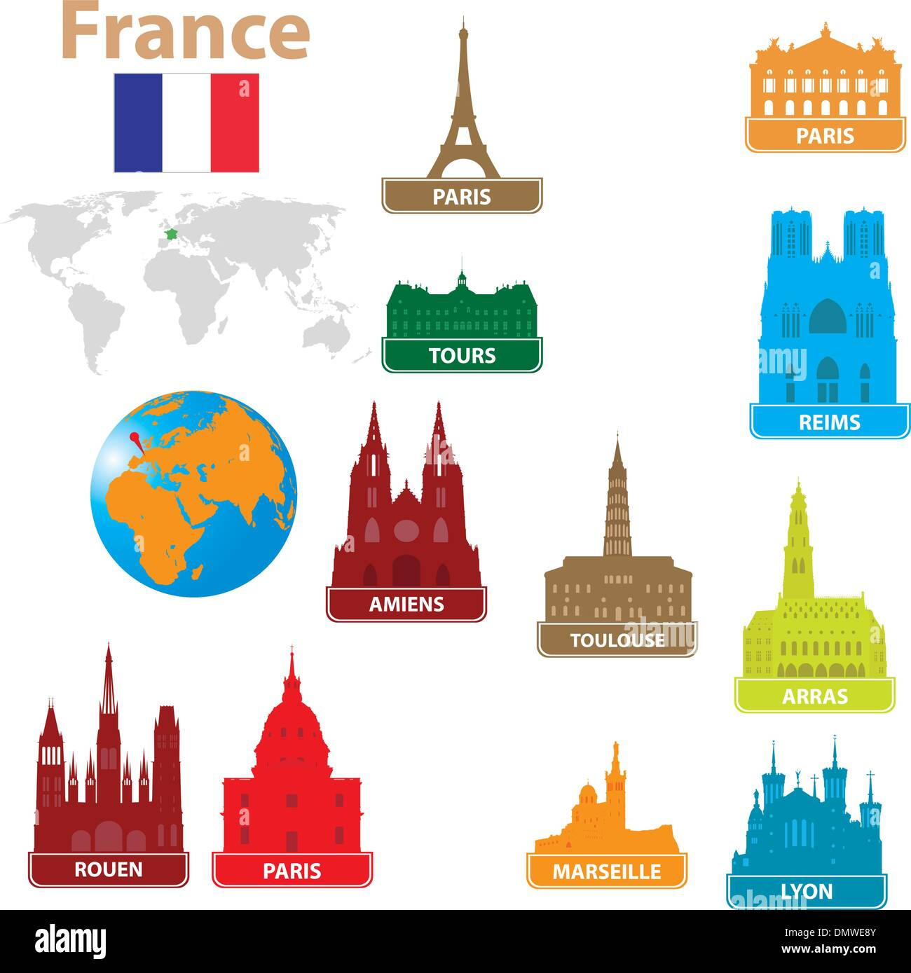 Symbols city to France - Stock Vector