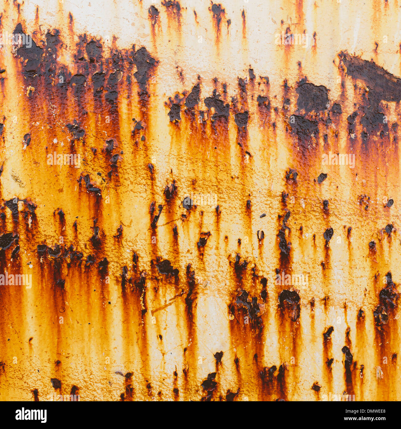 Streaks of rust from steel bolts on a metal sheet.l - Stock Image