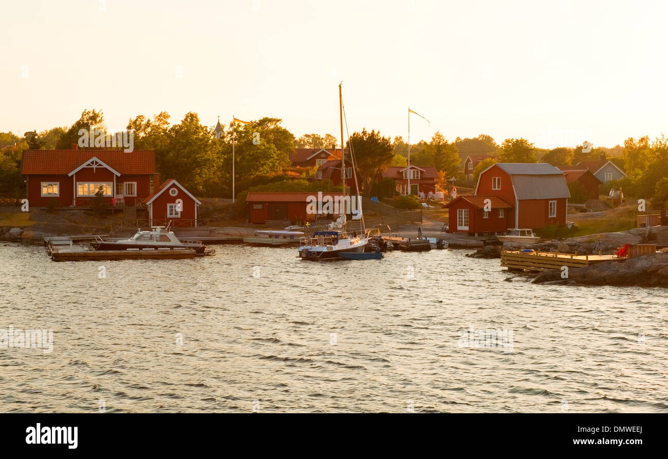A small harbour in the Stockholm archipelago, Sweden - Stock Image