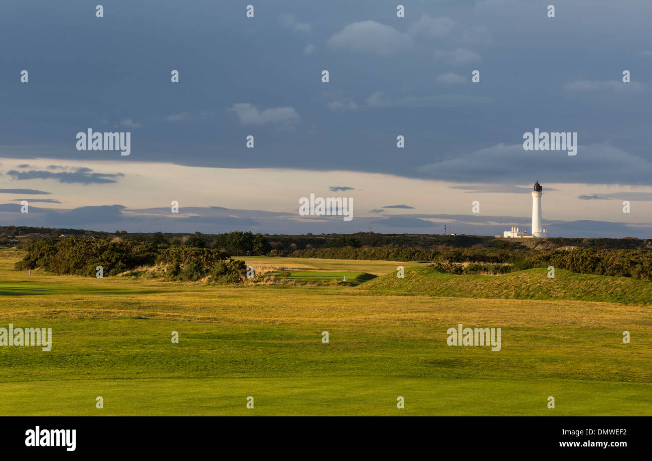 Golfers view of Covesea Lighthouse. - Stock Image