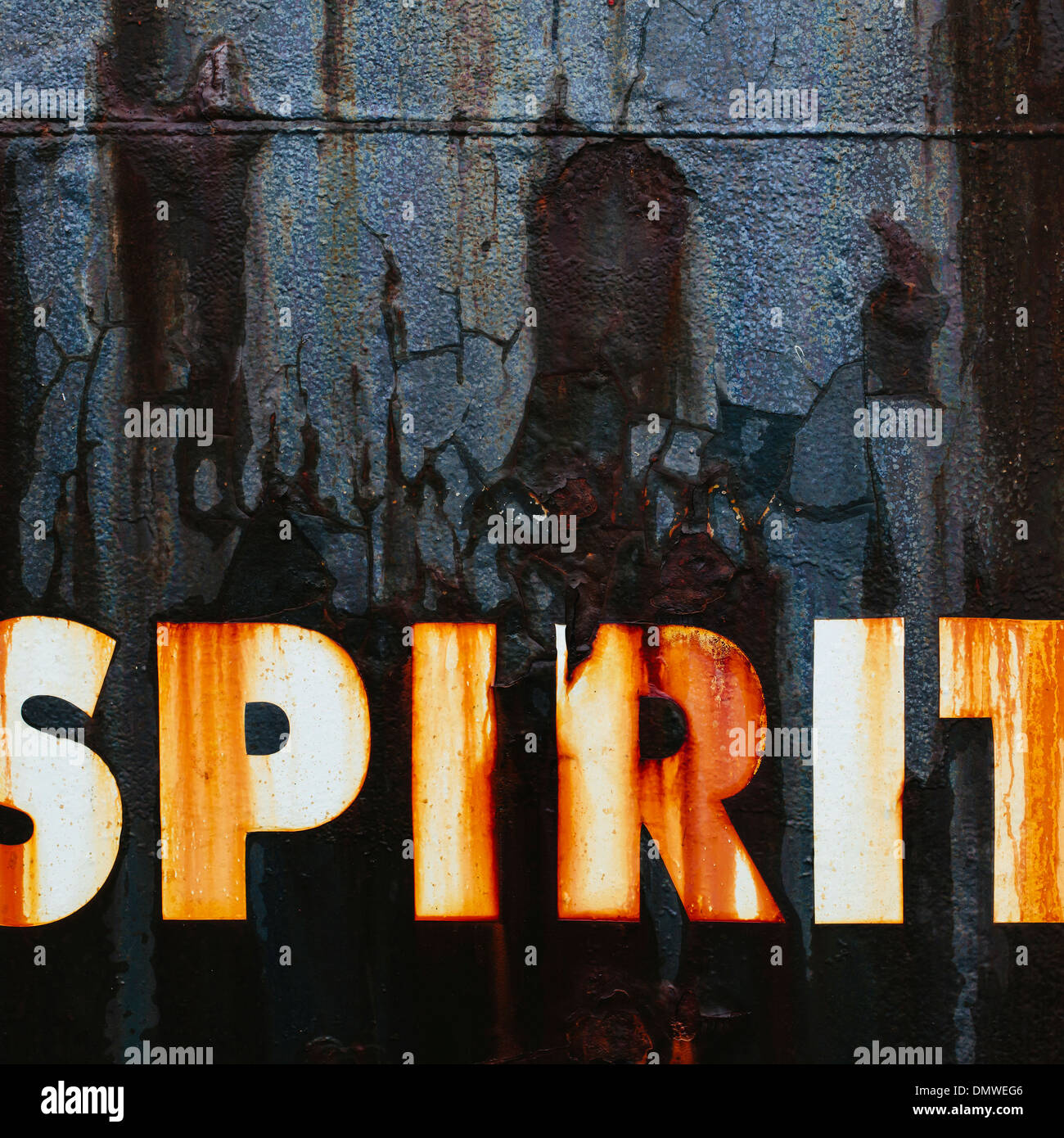 Close up of an old rusty commercial fishing boat.  word Spirit painted on  hull. - Stock Image