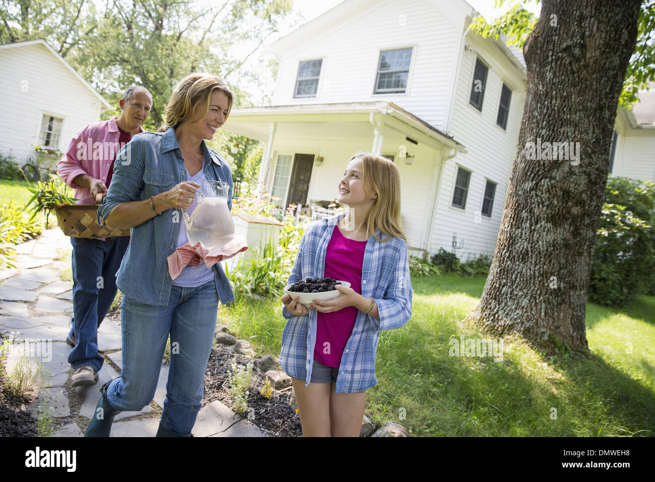 A family summer garing at a farm. Two adults and a young girl. Stock Photo