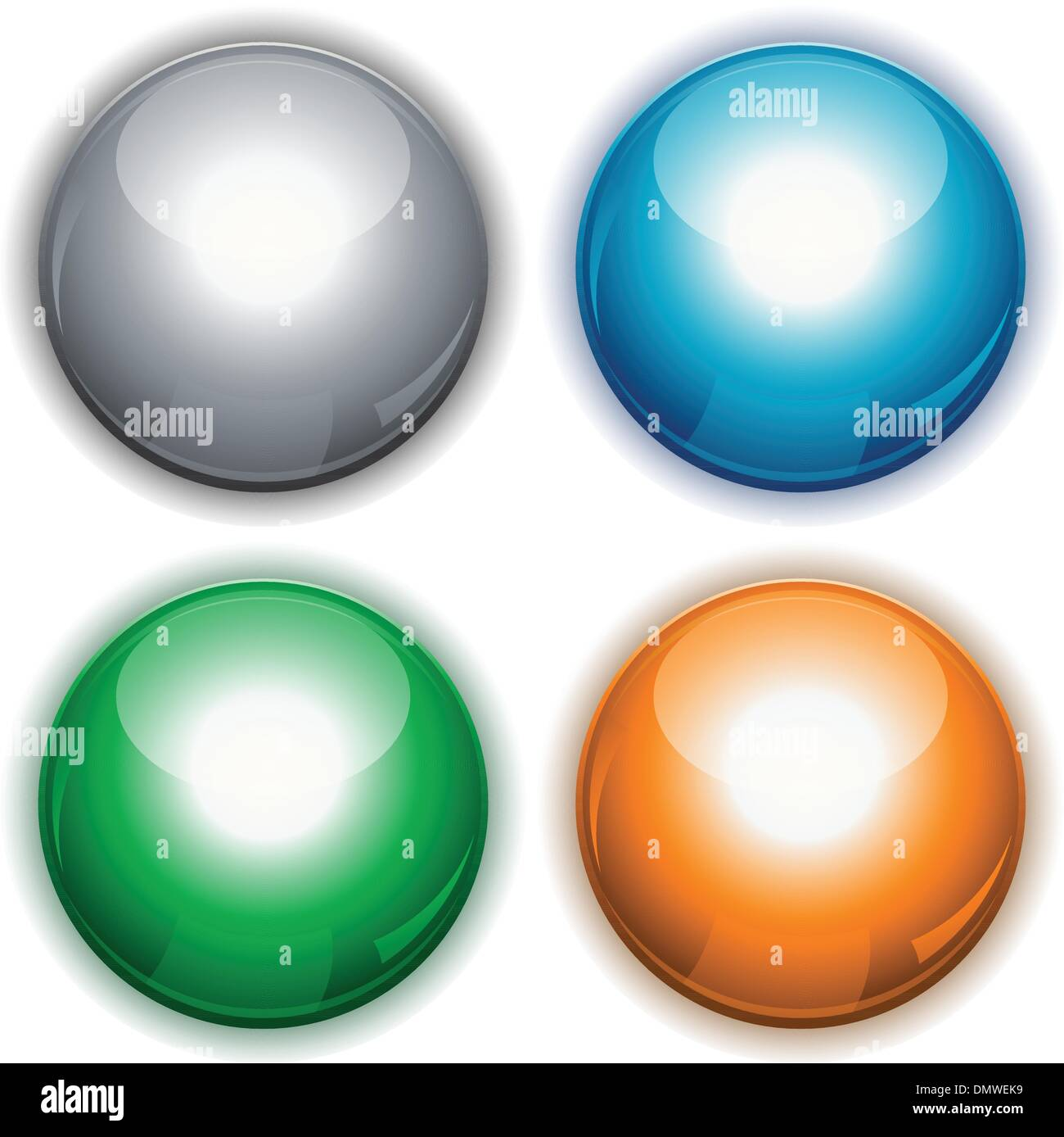 Glossy web circle buttons - Stock Image