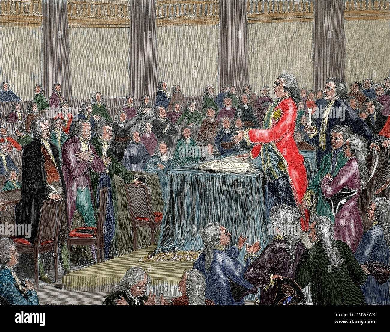 French Revolution 1787-1799. Louis XVI was forced to adopt the Constitution of 1791 by the National Assembly. Engraving. - Stock Image