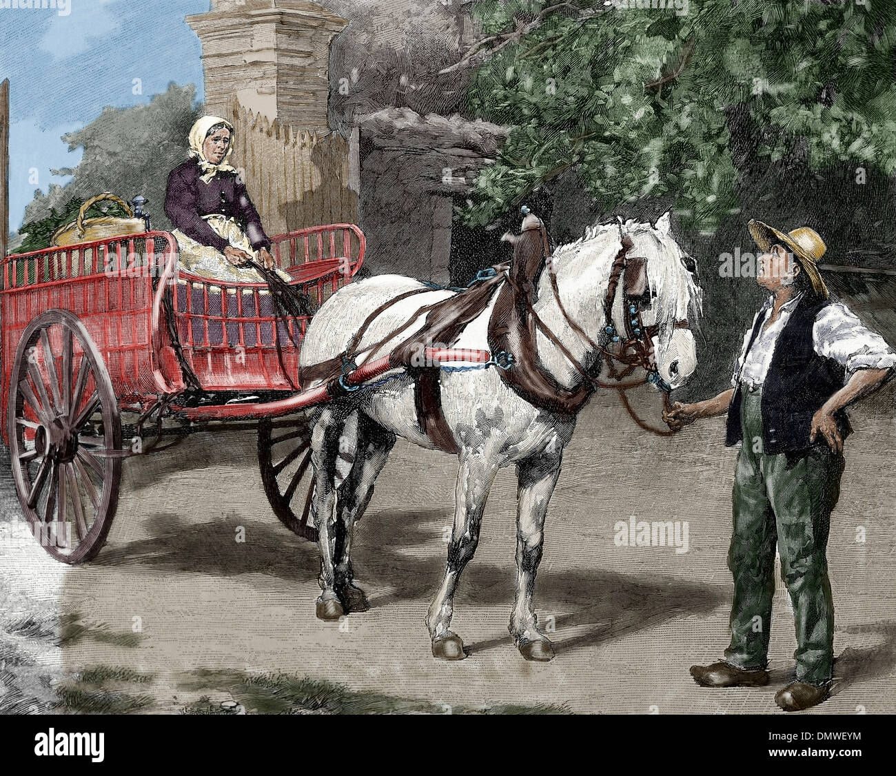 Peasant family with a chariot. Engraving by Huyot, 1880. Colored. - Stock Image