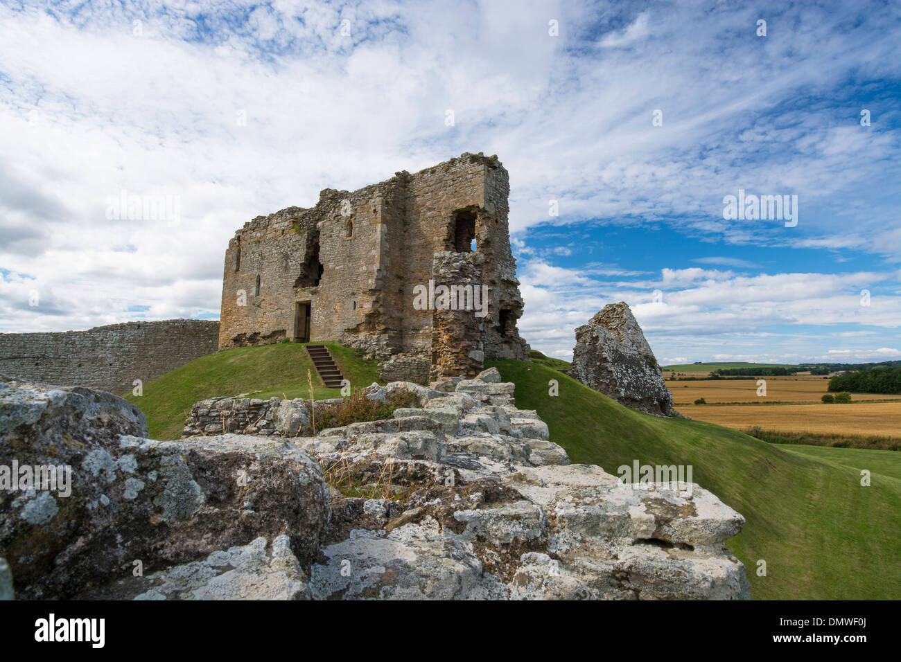 duffus castle forres elgin motte bailey historic - Stock Image