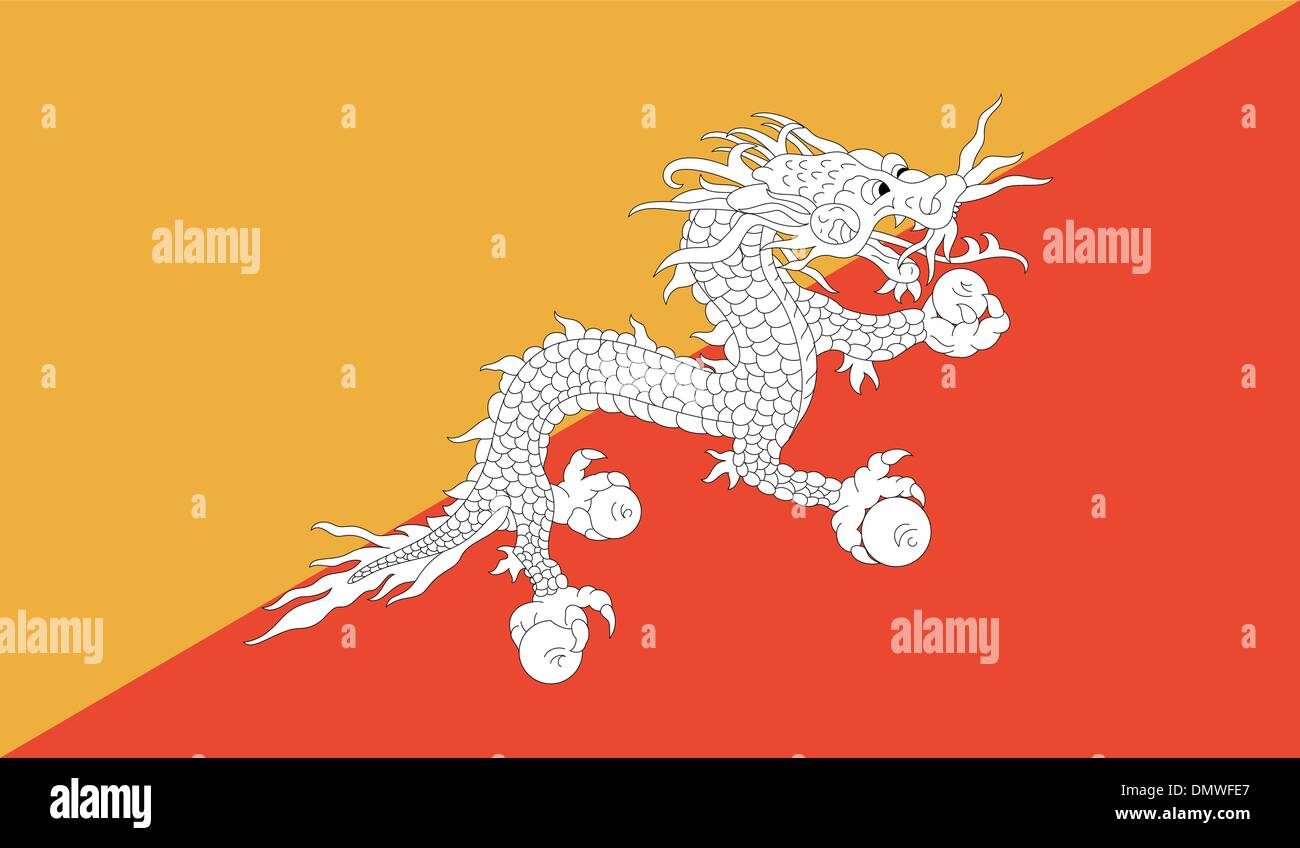 Bhutan Flag - Stock Vector