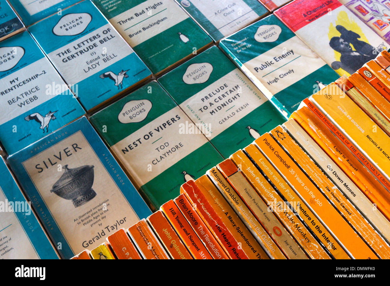 Modern and old Penguin books for sale on a stall on London's South Bank. - Stock Image
