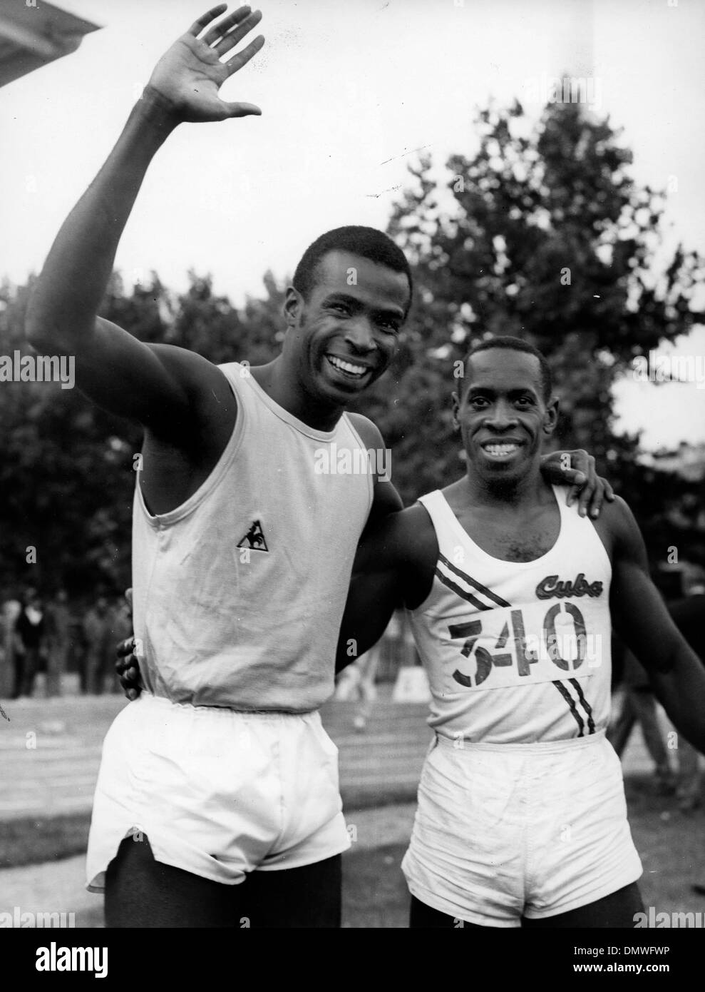 Jun 31, 1968; Paris, France; Runner ROGER BAMBUCK sets a 100 meter record, pictured with ENRIQUE FIGUEROLA. (Credit - Stock Image
