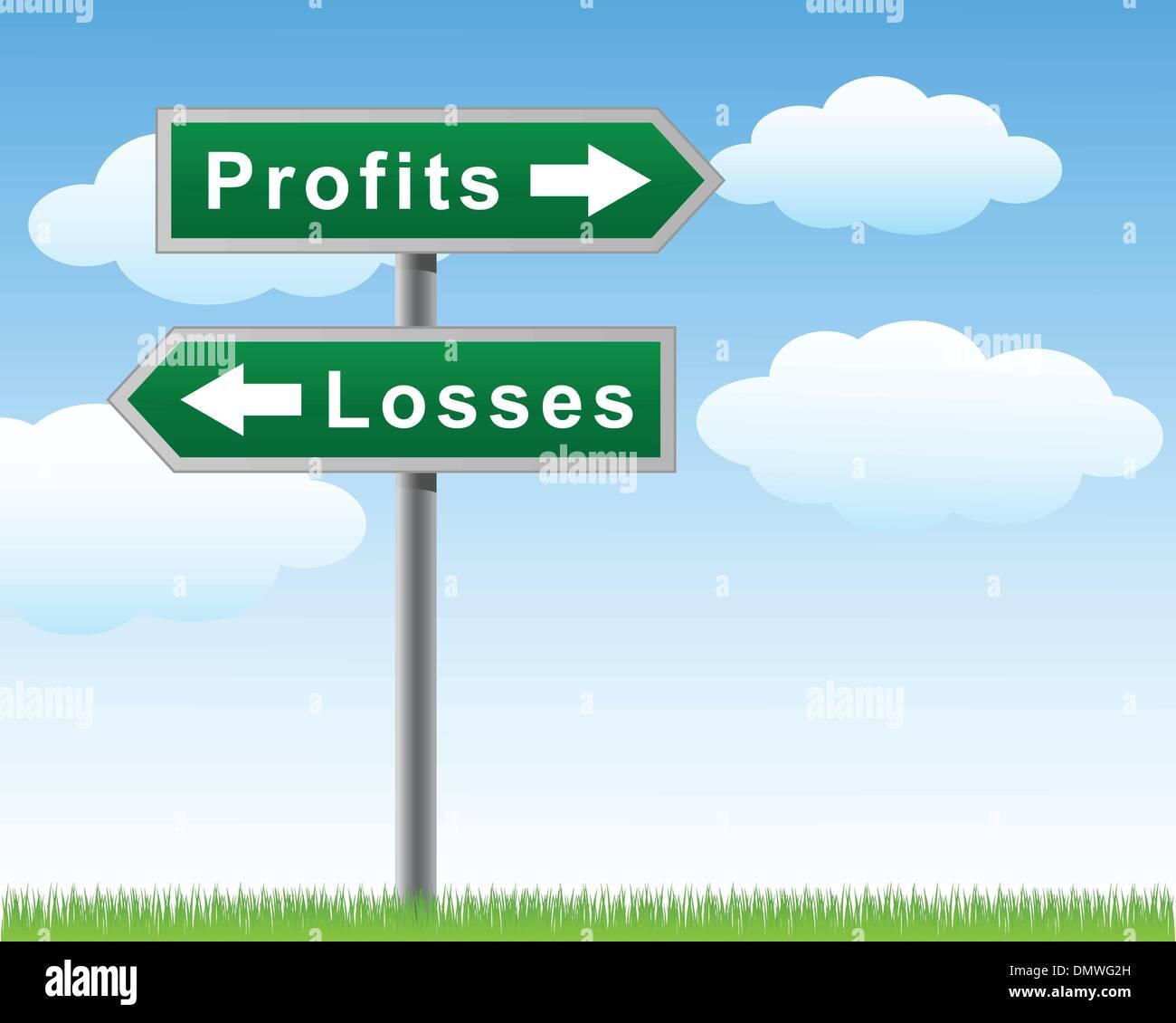 Road sign profits losses - Stock Image