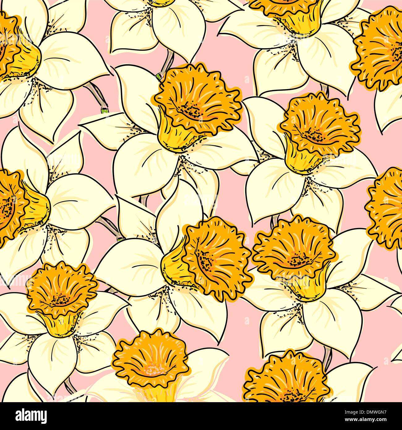 Seamless pattern with daffodil Stock Vector