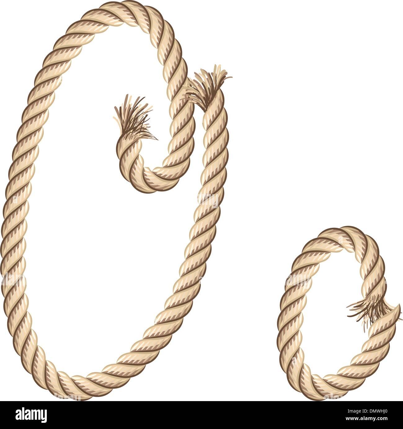 Rope Alphabet Letter O Stock Vector Art Illustration Vector