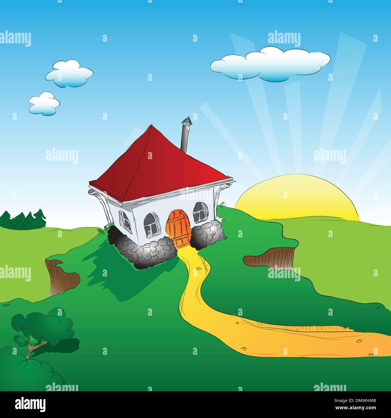 House on a cliff - Stock Vector