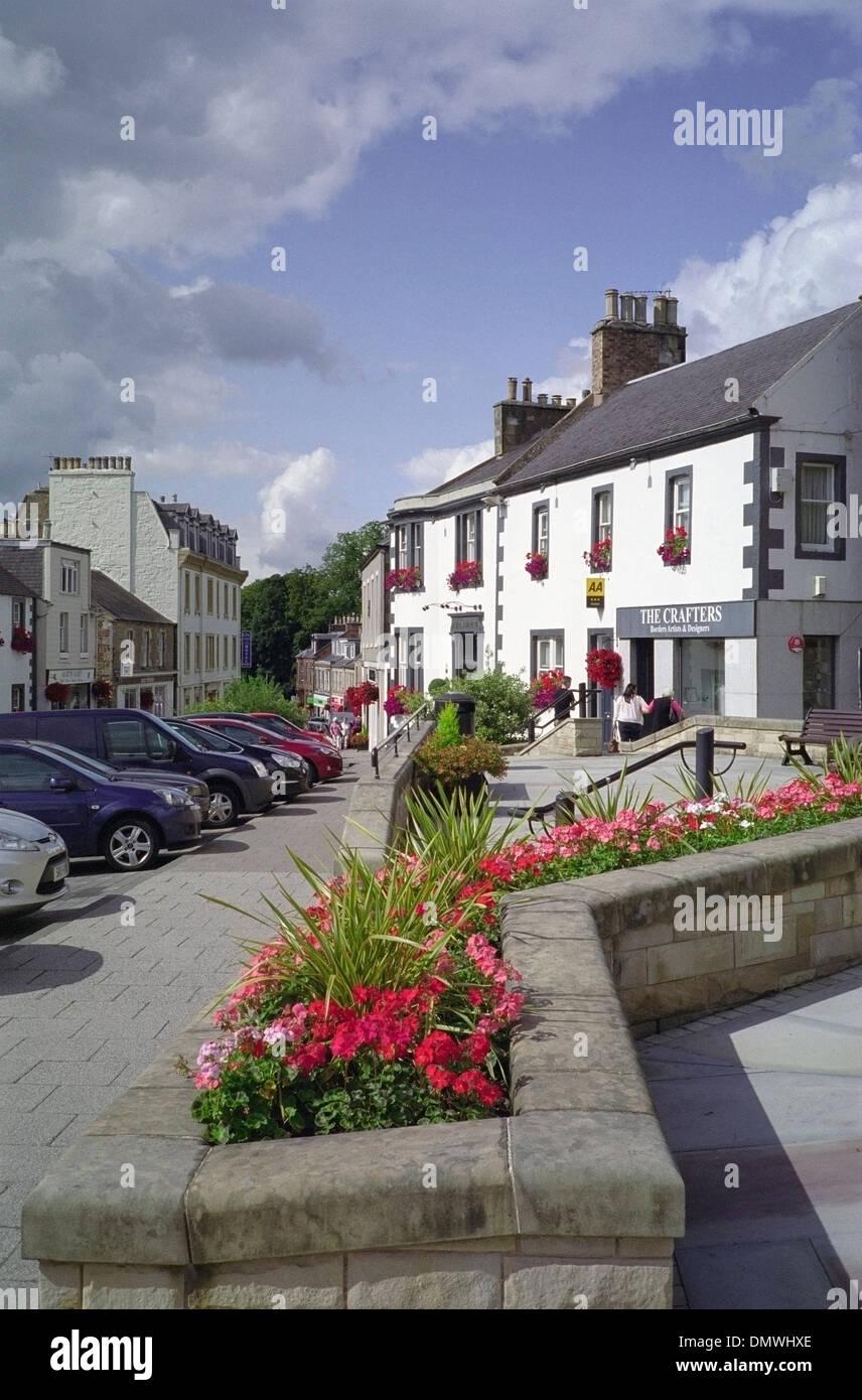 High Street, Melrose Town, Borders, Scotland, UK - Stock Image