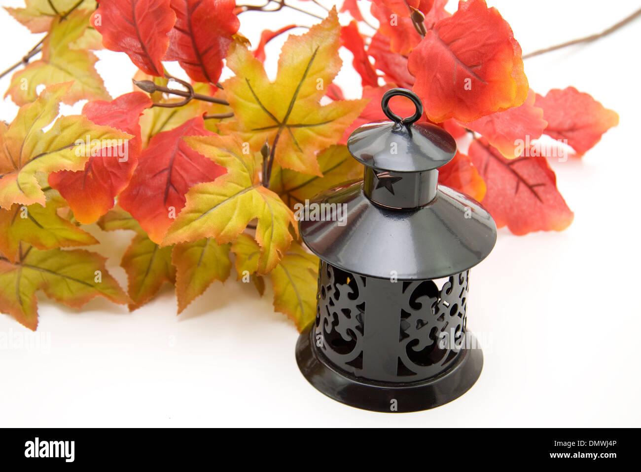 Tea light lantern with sheet branch on white background - Stock Image