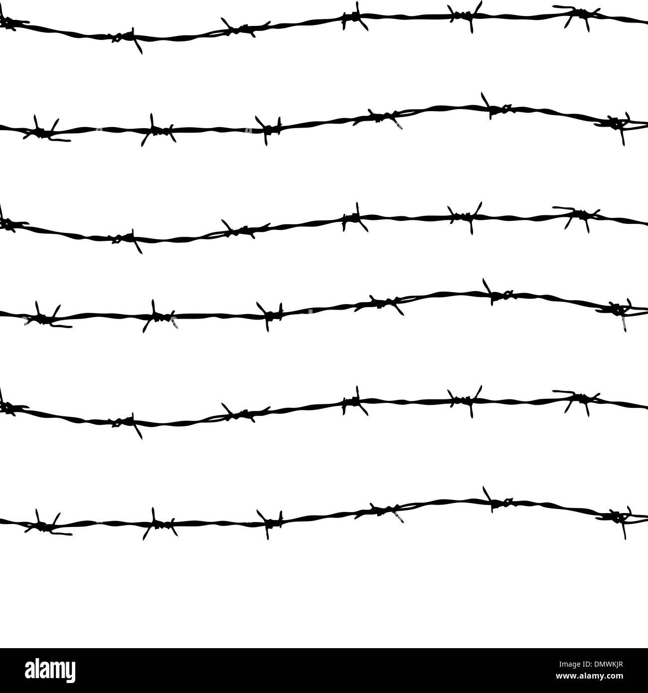 fence from barbed wires - Stock Image