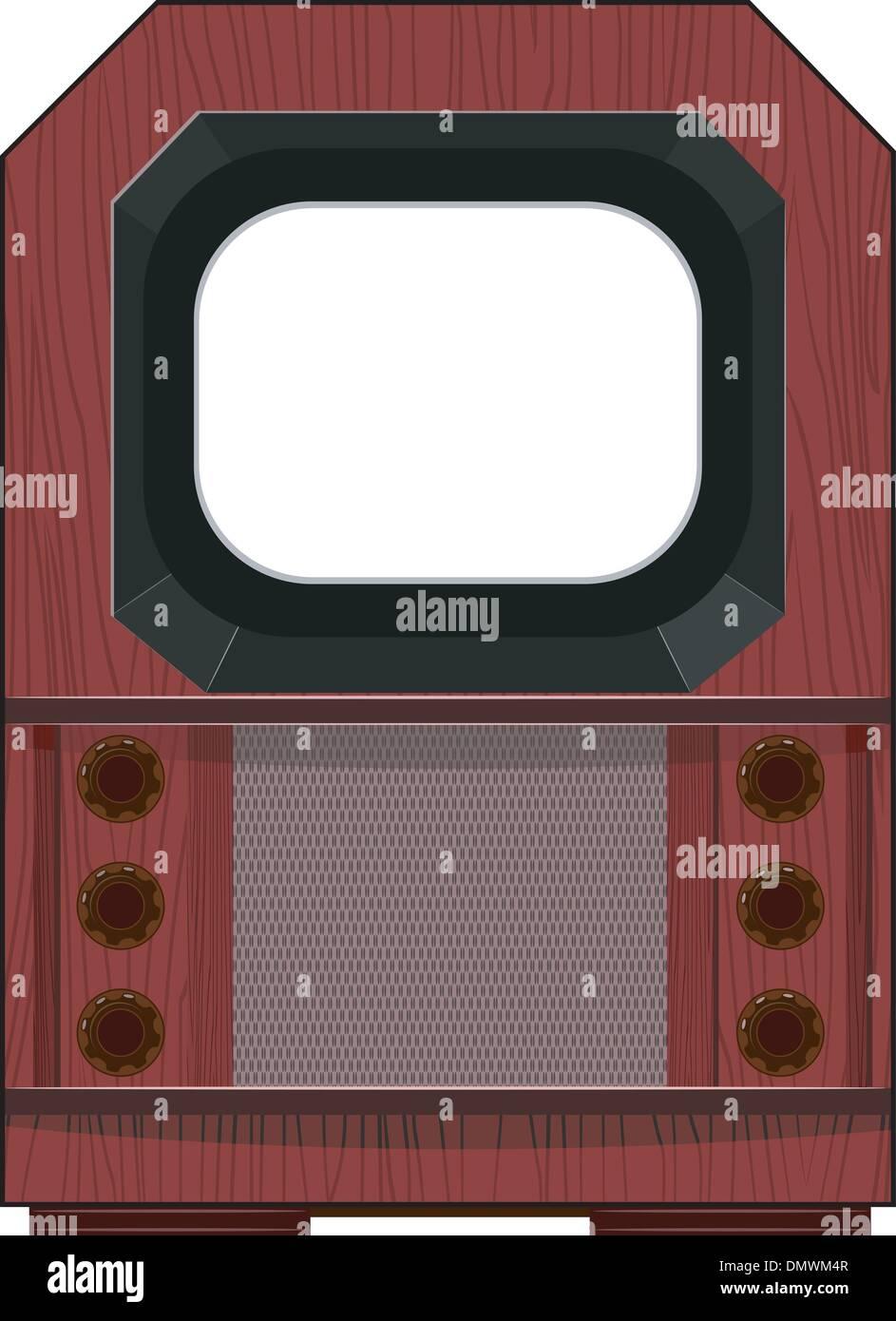 Vector artwork old TV - Stock Vector