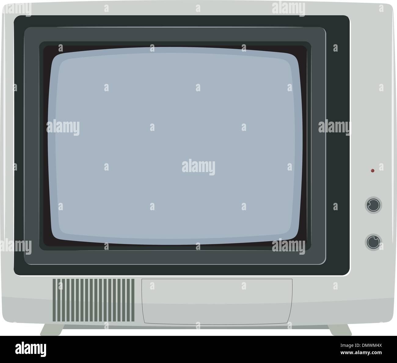 Vector illustration of an old TV set with plastic housing - Stock Vector
