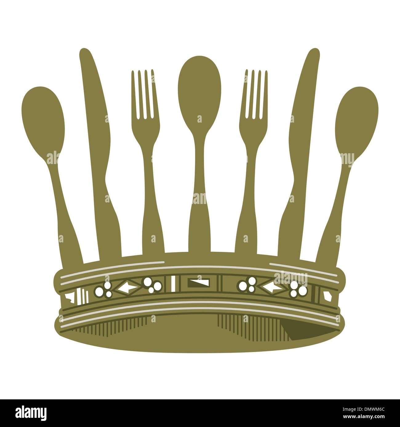 Dinner with Crown - Stock Image