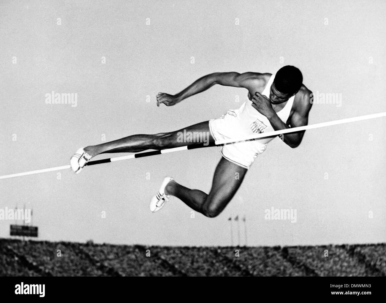 Aug 04, 1948; London, UK; High Jumper CHARLES DUMAS held the world's high jumping record and won the event in the 1948 London Summer Olympics. Dumas went on to be the first jumper to clear 7-0 1/2 in the 1956 Olympic Trials at the Los Angeles Coliseum. (Credit Image: © KEYSTONE Pictures USA) - Stock Image
