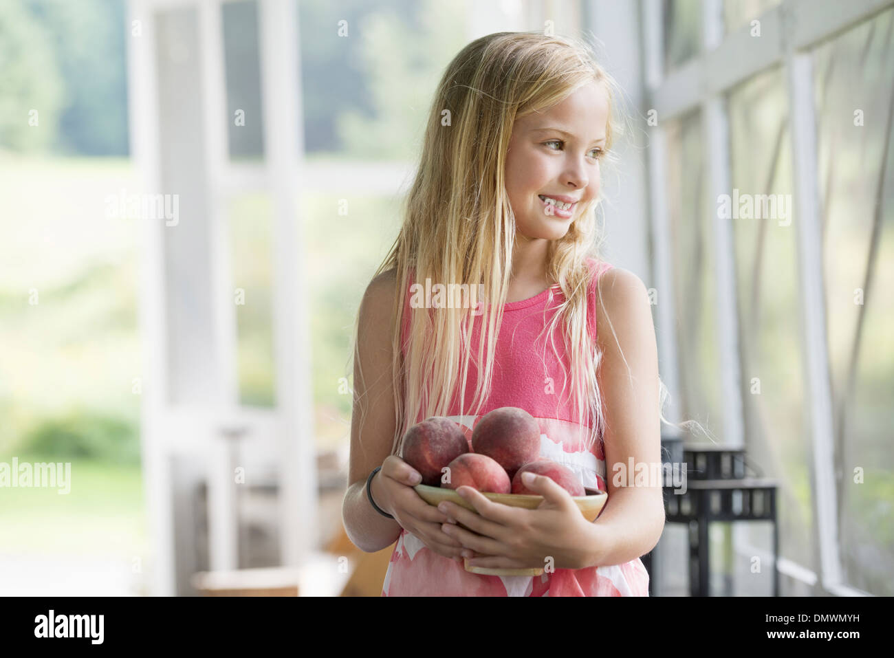 A young girl holding an armful of fresh peaches. - Stock Image