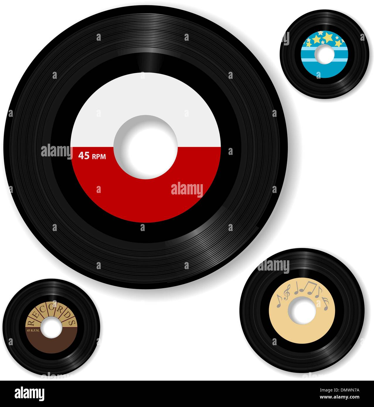 Retro 45 RPM Record Labels Set Stock Vector