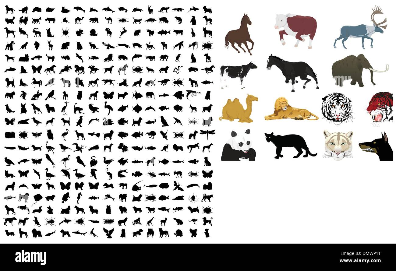 Collection of silhouettes of animals2 - Stock Image
